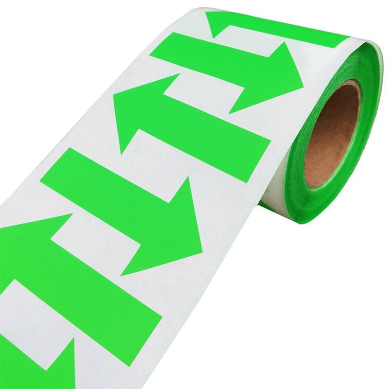 2021 New Trend 500/roll Arrow Stickers Fluorescent Green Shape Color Coding Inventory Labels 2 X 1.25 Inch Self-adhesive Label