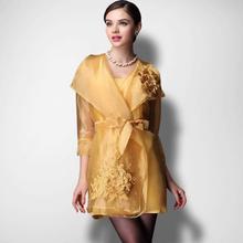 TOP qualité automne élégant piste longue Trench Coat femmes brodées organza trench coat robe a1416