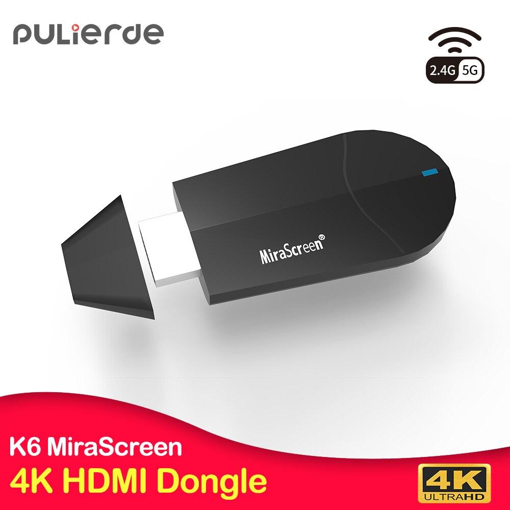 PULIERDE K6 HDMI Dongle 5G MiraScreen 4K WiFi inalámbrico receptor pantalla 1080P HD TV Stick Miracast Airplay Mirroring