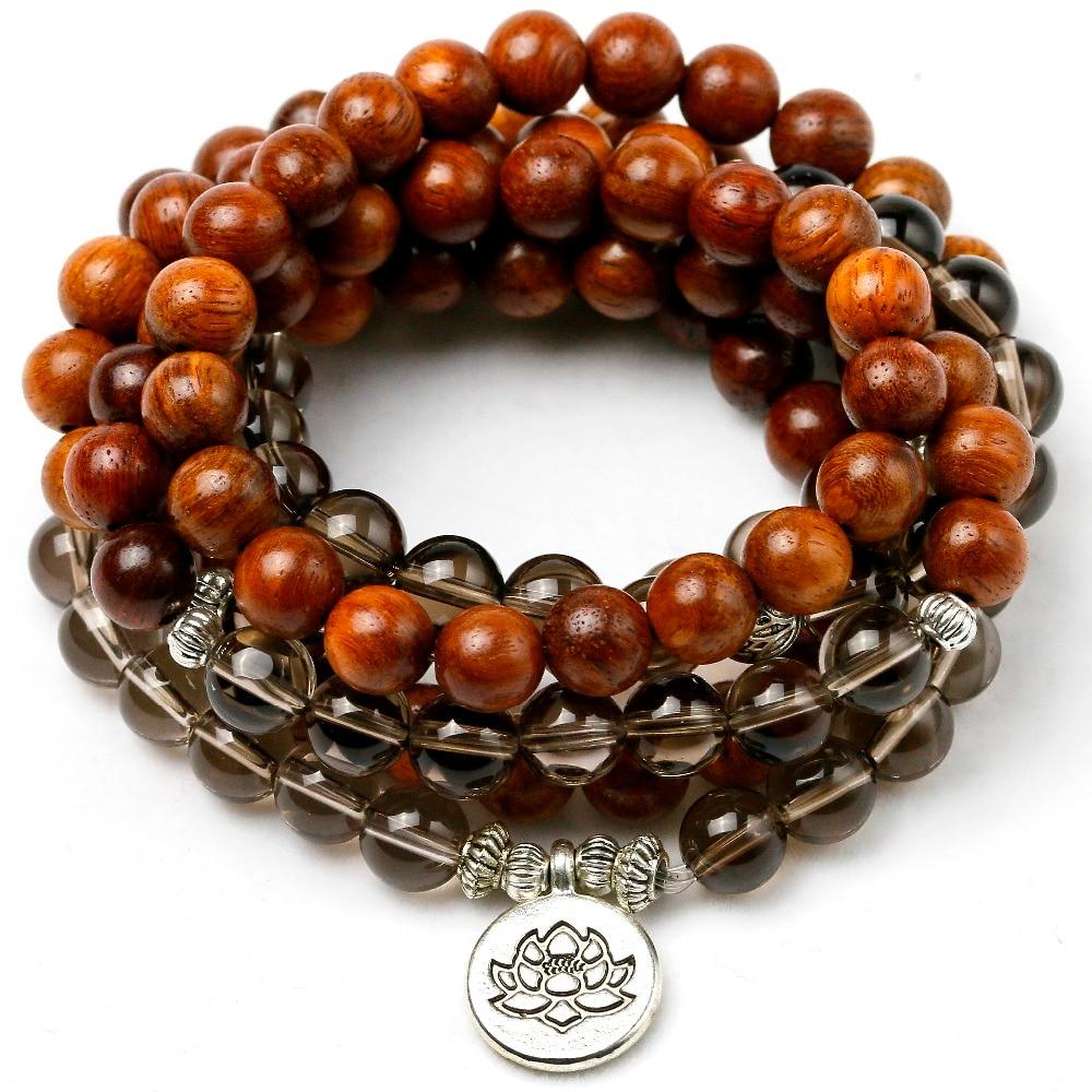 Natural Smoky Crystal With Wood Beaded Bracelet Women Men 108 Mala Beads Buddha Charm Strand Bracelet Necklace Yoga Gift