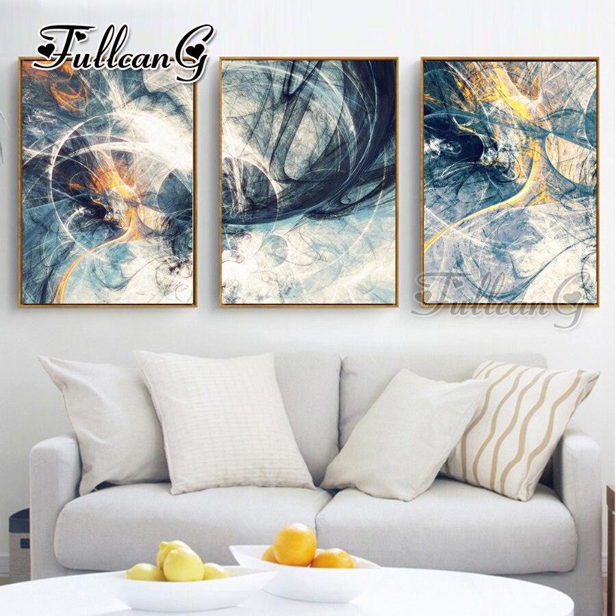 "FULLCANG triptychon diy diamant malerei ""abstrakte kunst"" 3 stücke mosaik kreuz stich 5d stickerei kits voller quadrat bohrer g1284"