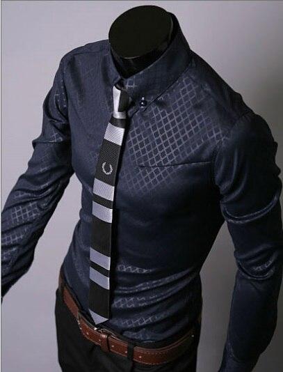 Camisa ajustada a rayas a cuadros con líneas oscuras para hombre, camisetas de negocios de manga larga, camisetas informales de verano para hombre, tallas grandes 5XL 5912