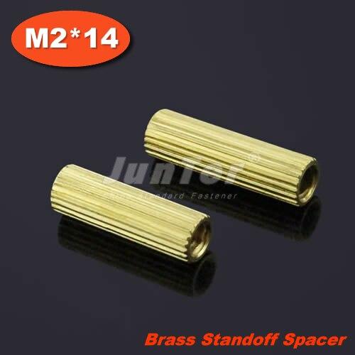 100 unids/lote latón espaciador de separación M2 hembra x M2 mujer 14mm