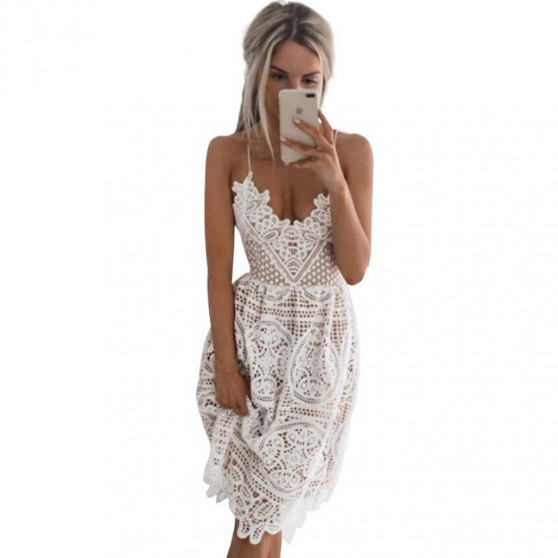 Vestido de verano 2019 nuevo Sexy moda elegante vestido de mujer Sling encaje Halter vestido femenino