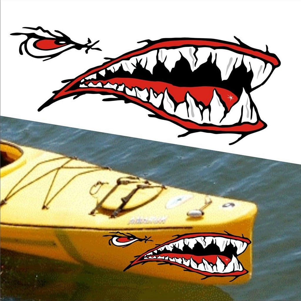 2 Pcs Shark Teeth Mouth Sticker Fish Mouth Sticker Fishing Boat Canoe Car Truck Inflatable Boat Kayak Vinyl Stickers Accessories