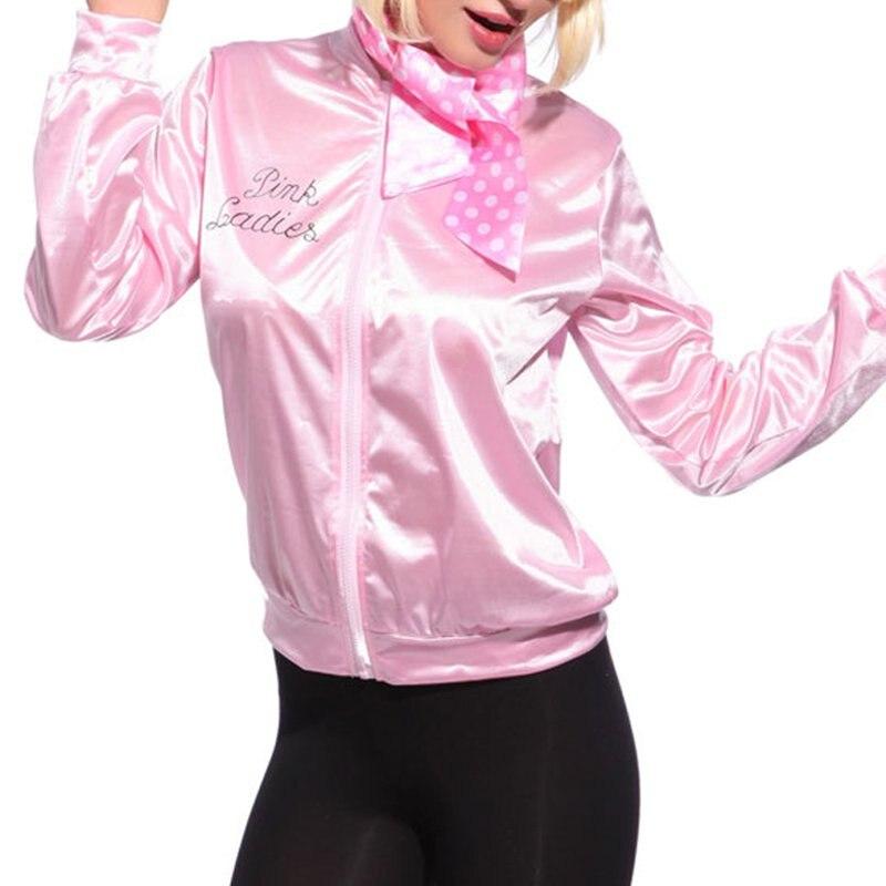 New Women Basic Coats Pink Tracksuit for Women Jacket Ladies Retro Jacket Women Fancy Dress Grease C