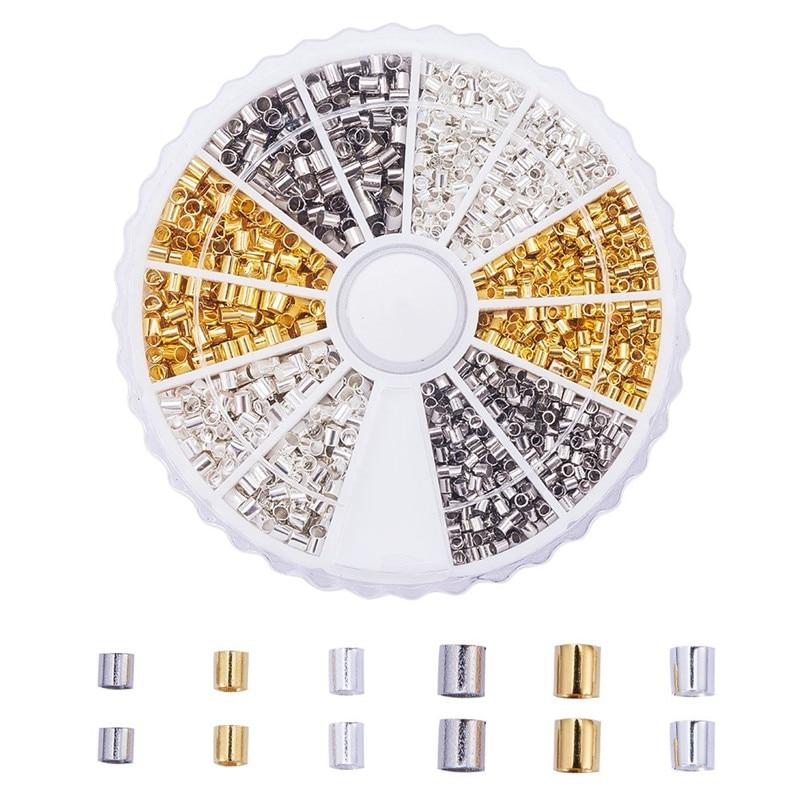 1 коробка, 3 цвета, латунные обжимные шарики для ювелирных изделий, смешанный цвет, 1,5 ~ 2x1, 5 ~ 2 мм, отверстие: 1 ~ 1,5 мм