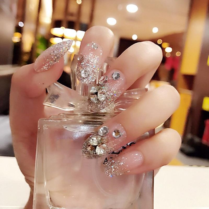 Uñas postizas para damas, 24 Uds., cuentas de decoración florales transparentes, uñas falsas para novia DIY @ ME88