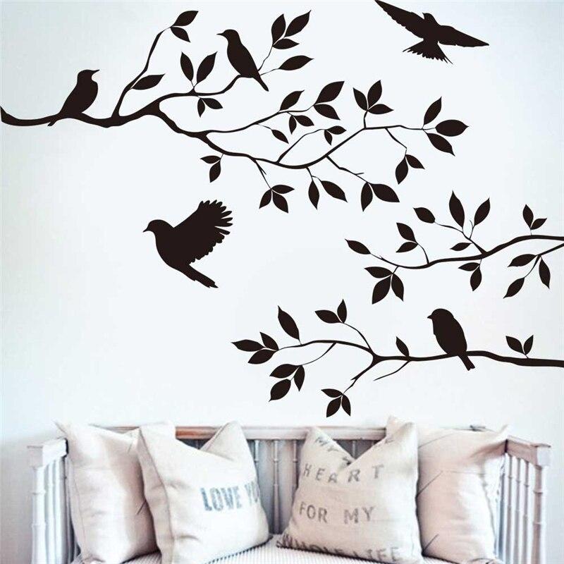 Черная ветка дерева с птицами наклейки на стену домашний декор для гостиной домашние виниловые настенные наклейки Diy съемные настенные художественные украшения