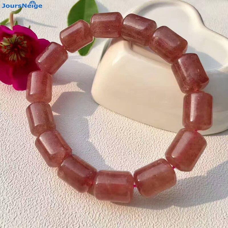 Venta al por mayor, pulseras de cristal Natural de fresa, cuentas de cubo, cadena de mano para mujeres y niñas, joyería de una sola vuelta, JoursNeige