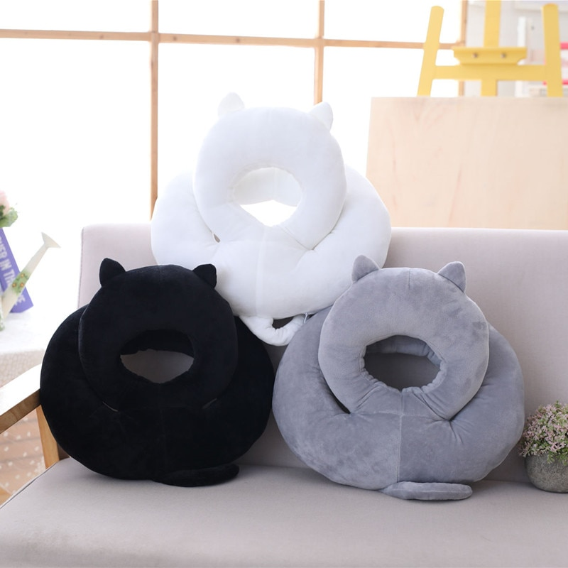 dropshipping cute kawaii cat with bow plush dolls toys gift stuffed soft doll cushion sofa pillow gifts xmas gift party decor cute plush cat pillow sofa office sleeping pillow cushion cat toys stuffed cartoon animal doll Christmas gift