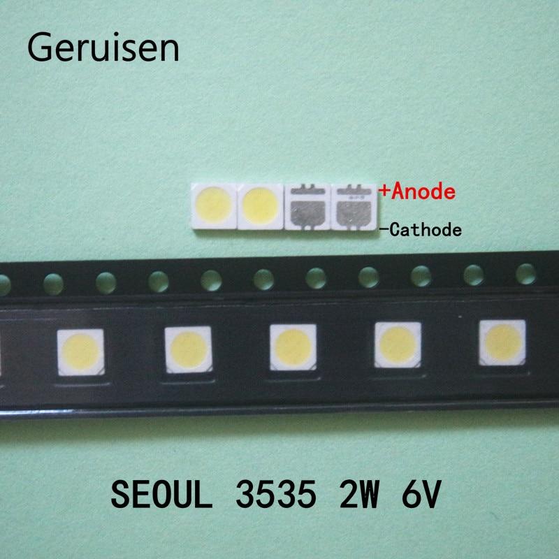 100 Pçs/lote SEUL 3535 6V 2W SMD Branco Frio LED de Alta Potência Para LCD/TV Backlight