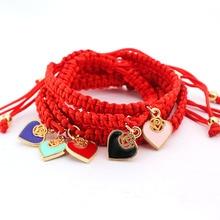 Fil rouge bijoux chanceux pour les femmes amour coeur breloques à la main tressé corde Bracelets Pulseira Masculina réglable bijoux cadeaux