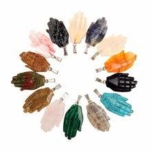 Druzy 4 unids/lote Piedra Natural hasma mano colgantes de piedra de Color mixto Nueva joyería de moda collares hacer envío gratis