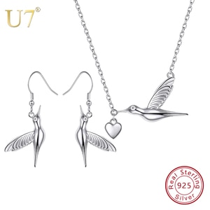 U7 925 Sterling Silver Bird Pendant Necklace And Dangle Earrings Set Animals Charm Jewelry Mother's Day Gift for Girl/Women SC94