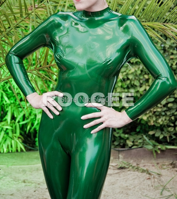 Women close-fiting rubber latex fetishes tights in Metallic Green