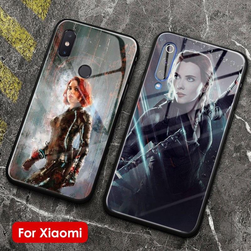 Czarna wdowa miękkiego silikonu szkła telefon skrzynki pokrywa shell dla Xiaomi Mi 5 S 6X8 9 SE poznaj Mi Mix 2 2S 3 redmi uwaga 5 6 7