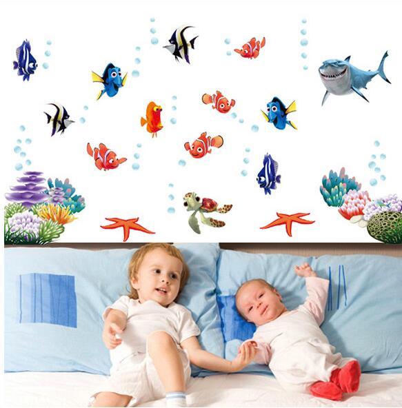 Pez nemo calcomanías de pared de dibujos animados para ducha, pegatinas de azulejos en el baño para niños, bebés en el baño AY617