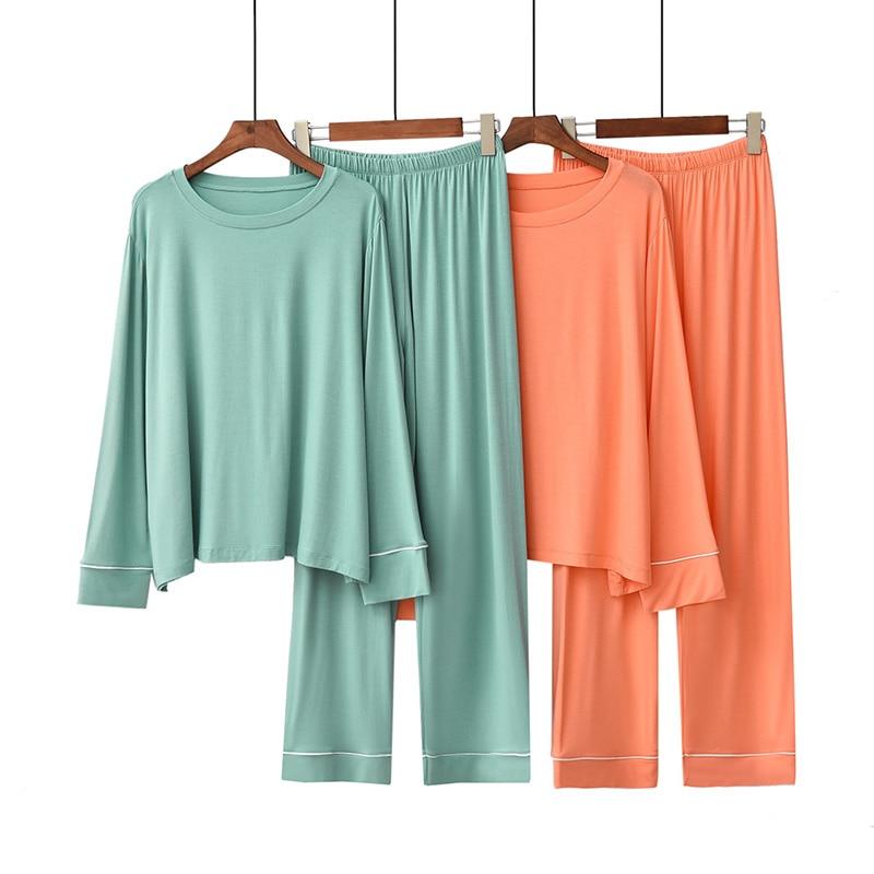 2Pcs Ladies Pajamas set Comfort Loose Macaroon Color Long Sleeve+Pants Soft Women Wide Leg Girls Soft Homewear Casual Wear