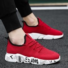 2019 Plus Size Homens Malha Ar Leve 46 Tricô Sneakers Respirável Flats Unidade de Graffiti Sapatos de Trabalho do Homem Vulcanizada Sapatos Vermelhos