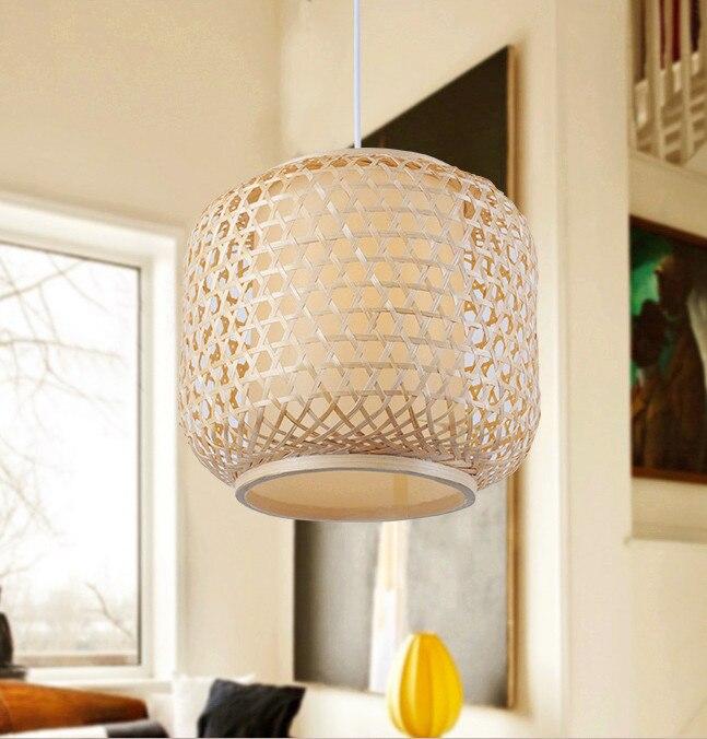 Luzes Sudeste Da Ásia estilo rústico Chinese bamboo handwoven Pingente breve rodada E27 CONDUZIU a lâmpada para o alpendre & parlor & escadas LHDD013