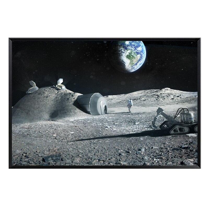 Póster de Luna astronauta tierra astronauta cuadro sobre lienzo para pared cuadros decoración moderna minimalista hogar universo arte