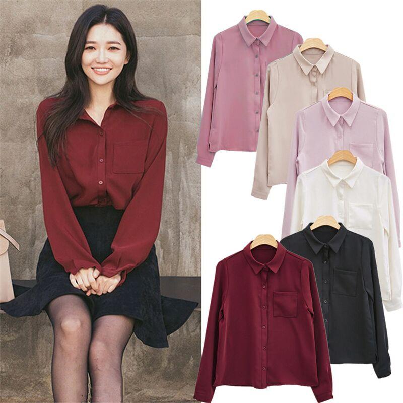 Blusas de mujer camisa de manga larga informal de chifón cuello vuelto sólido para mujer camisa de moda coreana camisas sueltas de un solo pecho