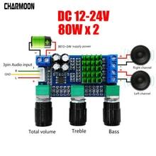 TPA3116D2 DC 12V 24V 80W x 2 Dual channel Digital Audio TPA3116D2 Treble Bass Regulating Preset Pre amplifier Board