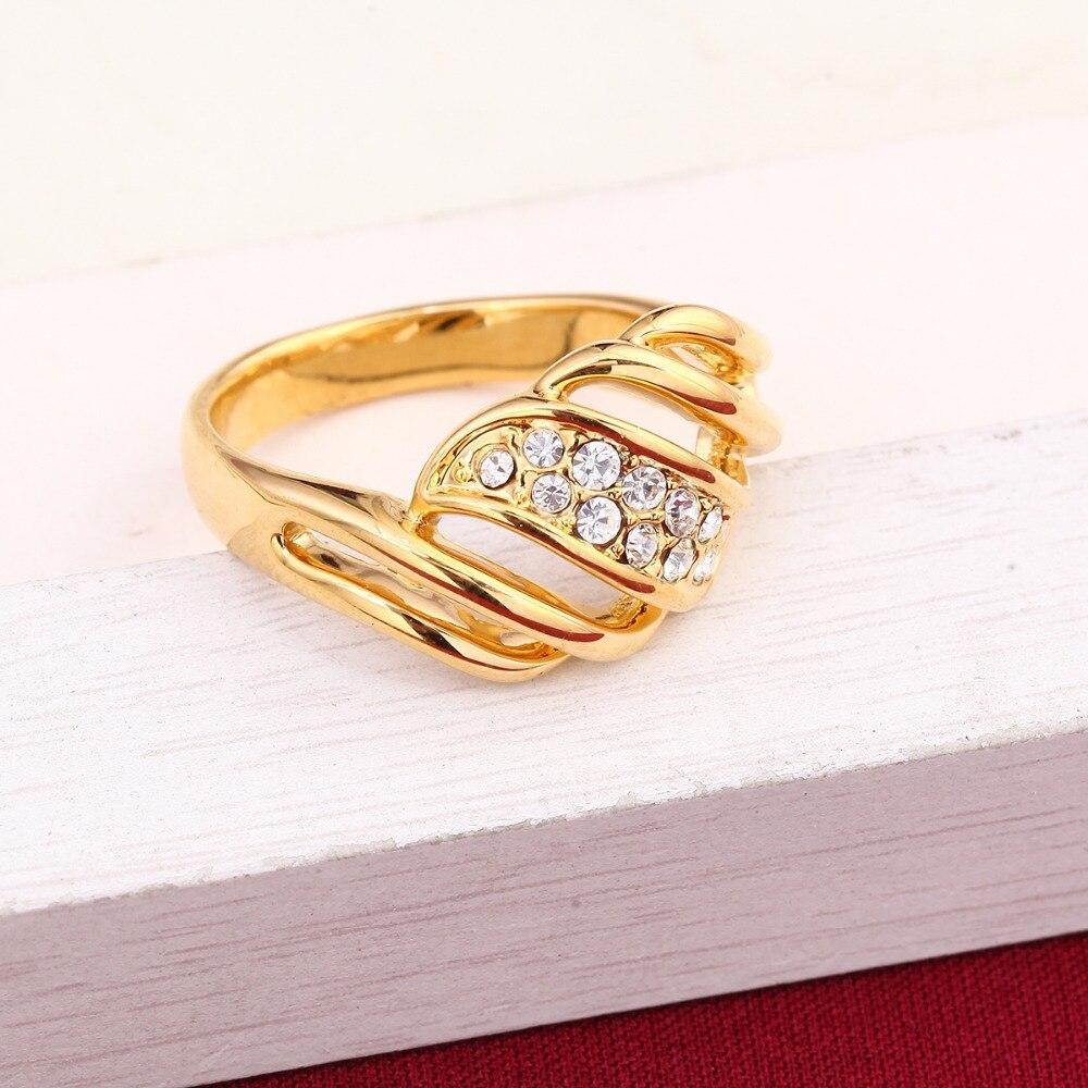 Anillo de compromiso de oro, anillo de compromiso de alta calidad, anillo de cristal con Color dorado de 24K
