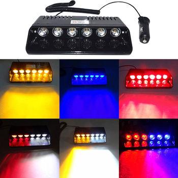 CYAN SOIL BAY Super Bright LED Strobe Lights Visor Dashboard Windshield Emergency Warning 6W Amber Yellow Blue Red White