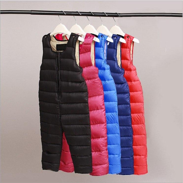 Ropa de invierno para niños, conjunto de traje de esquí para niñas y niños, mono infantil, pantalones de rumper, plumón de pato blanco de 30 grados