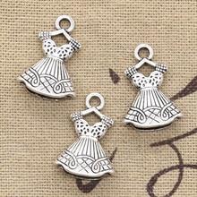Jupe de robe Double face 6 pièces de breloques 22x15mm, modèle Antique avec pendentif, couleur argent tibétaine Vintage, bijoux faits à la main bricolage-même