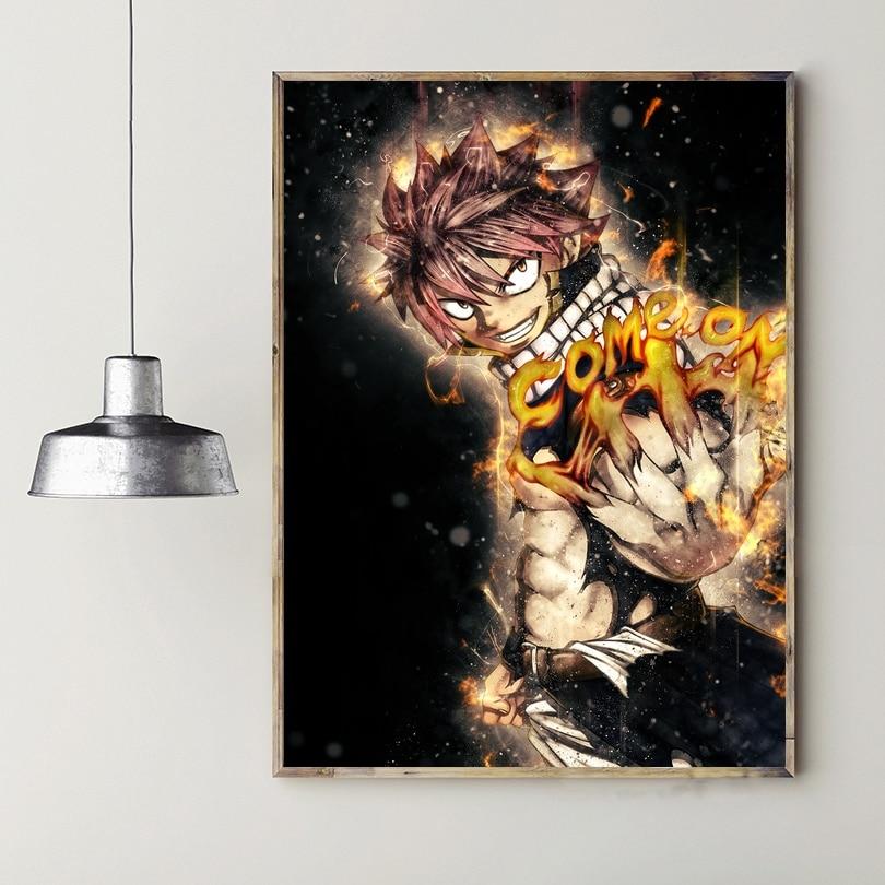 Póster de Anime japonés de Fairy Tail, impresiones de póster de tela de seda para decoración de pared del hogar