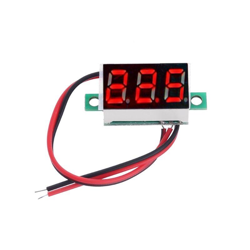 """1 Uds. Voltímetro Digital de 0,36 """"DC 4,5-30V 2 cables Panel de visualización LED rojo medidor de voltaje"""