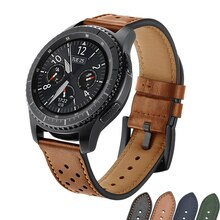 22mm pulseira de relógio retro couro genuíno para samsung galaxy assista 46mm engrenagem s3 fronteira fivela metal amazfit bip huewei assista