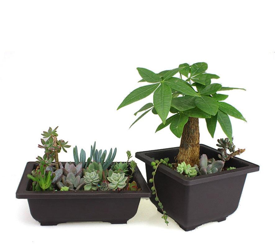 Flower Pot + Tray Balcony Square Flower Bonsai Bowl Nursery Basin pots Planter Imitation Plastic Rectangle Flower Pots