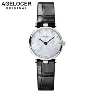 AGELOCER Fashion Ladies Quartz Watches Women Diamonds Wrist Watch Leather Top Luxury Brand Ladies Dress Clock Female