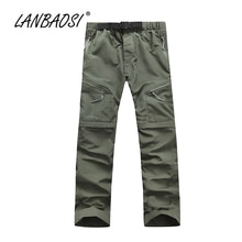 LANBAOSI Sports de plein air hommes randonnée pantalon séchage rapide Convertible Cargo pantalon léger