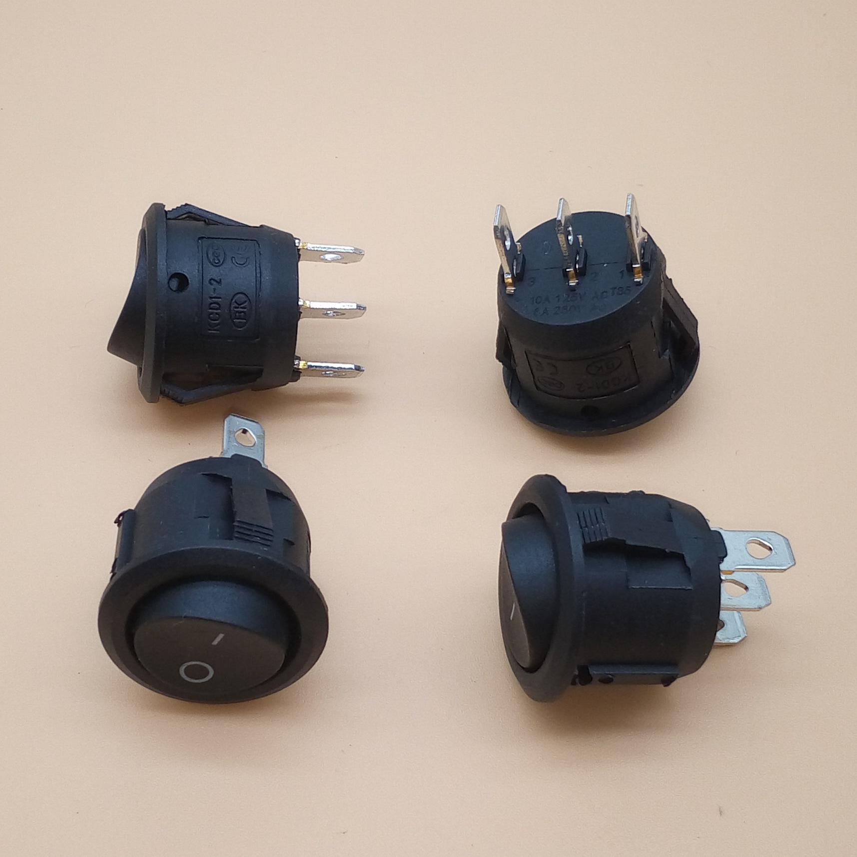 Pcs Mini Round Black 3 10 Pin SPDT ON-OFF Rocker Switch Snap-in KCD1-2 perfurar diâmetro 20mm