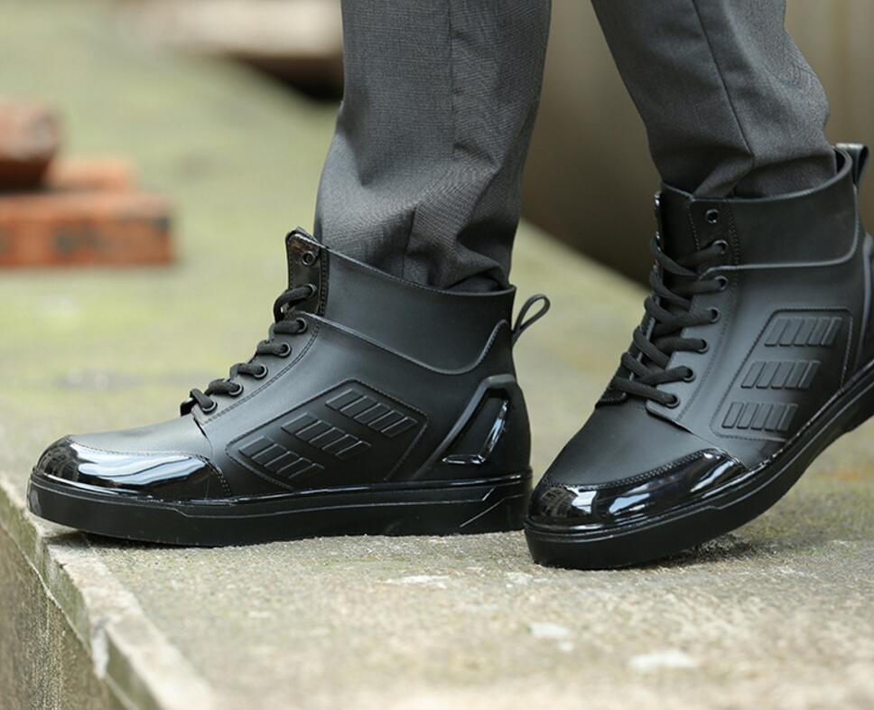 SunNY Everest الرجال rainboots أحذية ماء الدانتيل يصل الأحذية أحذية احذية المطر الذكور كعب مسطح عدم الانزلاق الطهاة العمل حديقة الأحذية 44