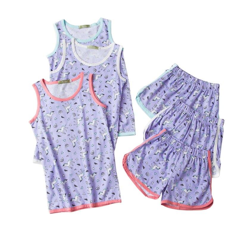 Verano lindo unicornio corto pijamas establece mujeres 100% algodón sin mangas coreano casual shorts homewear mujeres pijamas
