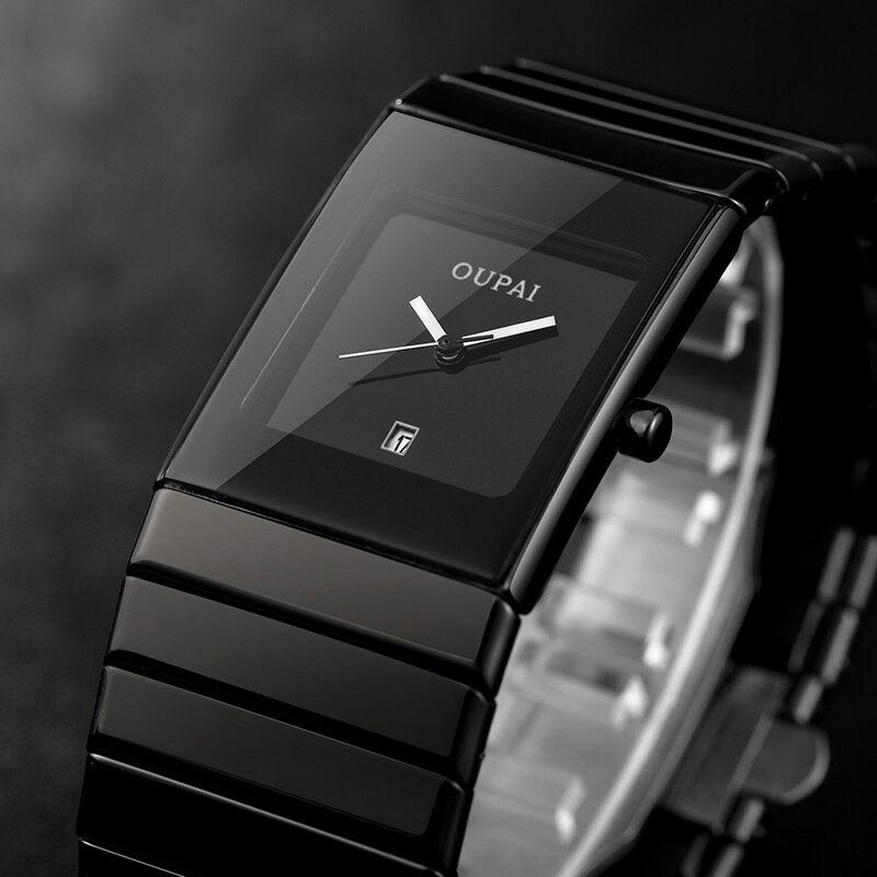 OUPAI Square Men Watch Business Waterproof Quartz Black Ceramics Wrist Male Relogio Masculino hodinky erkek kol saati