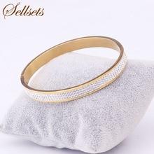 Sellsets bijoux 3 rangées cristal strass pavé en acier inoxydable bracelet manchette couleur or Bracelets ouverts et Bracelets pour femmes cadeaux