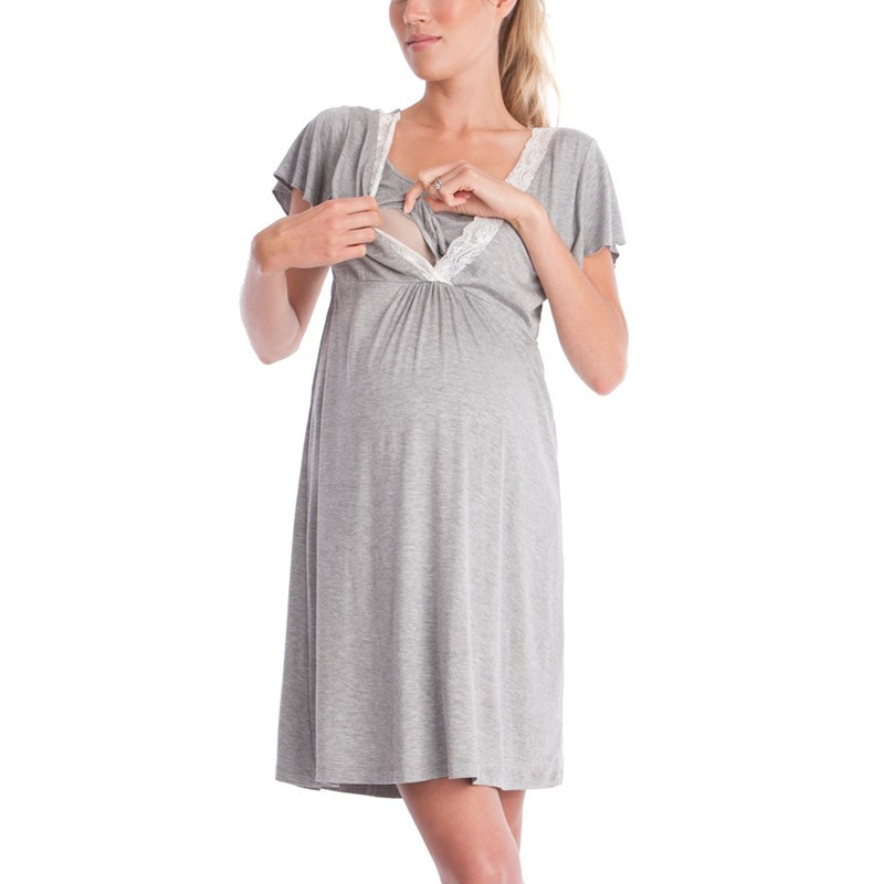 Pregnancy&maternity Pajamas Sleepwear Nursing Pregnant Pajamas Breastfeeding Nightgown Elegant Maternity Nursing Clothes Dress enlarge
