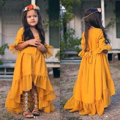 Vestido de volantes amarillo de princesa, novedad, para chico, niñas pequeñas, bohemio, con volantes, Media manga, vestido Formal de fiesta para niños, vestido veraniego de 1 a 5T