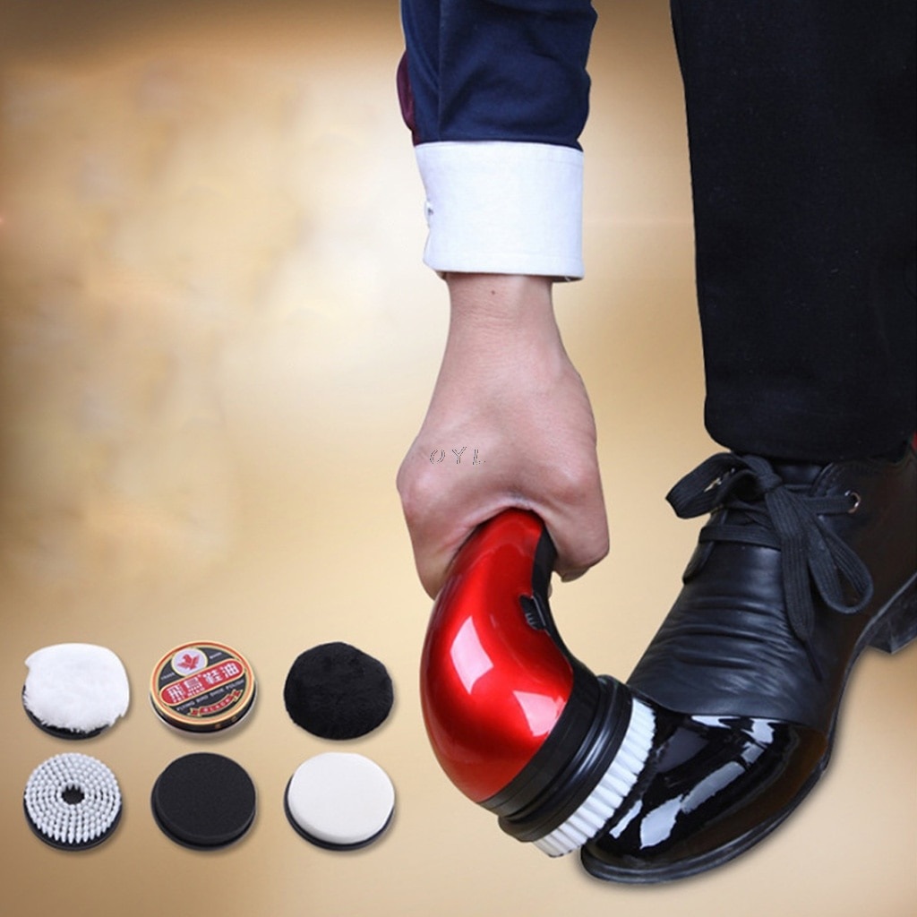 Portable Handheld Automatic Electric Shoe Brush Shine Polisher 2 Ways Power Supply EU Plug