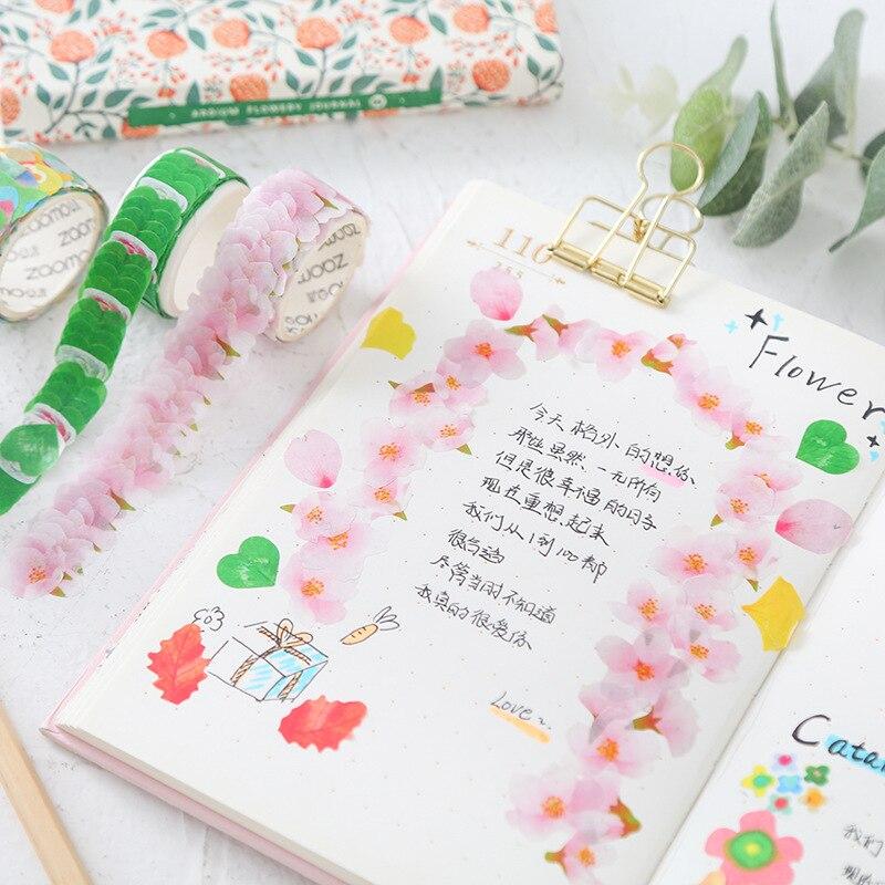 Flower Petals Washi Tape Decorative Masking Tape Cartoon Cat Washi Tape Scrapbooking Diary Paper Stickers Stationery Kawaii