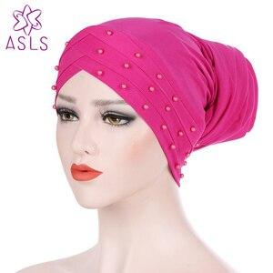 New Fashion Turban Hat Muslim Hijab Islamic Beads Cancer Chemo Cap Ladies Hijab Scarf Women Head Turbans Hair accessories