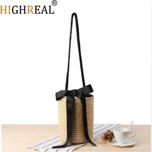 HIGHREAL Raffia Beach Bag Handmade Handbags Straw Baskets Summer Bohemia Holiday Shoulder Bags Market Women Shopping Bag