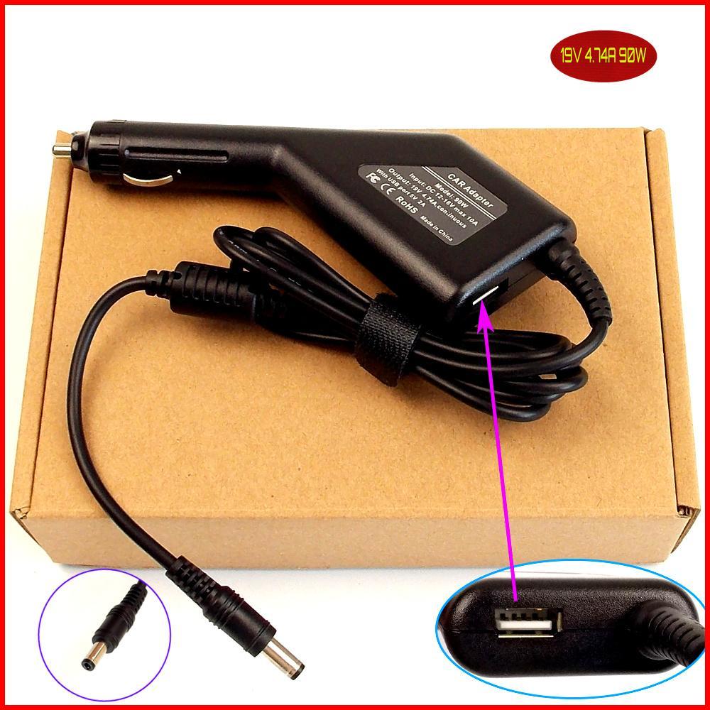 Ordenador portátil de alimentación DC Cargador/adaptador de coche 19V 4.74A 90W + puerto USB para Lenovo Y510 Y530 Y550 Y560 Y730A 0713A1990 45J7717